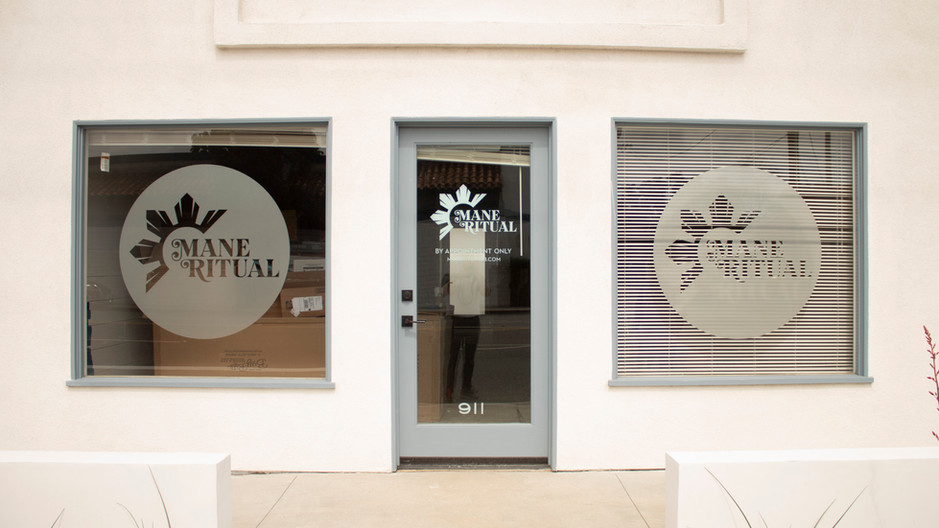 Frosted Glass Vinyl Decals for Mane Ritual Salon in North Long Beach