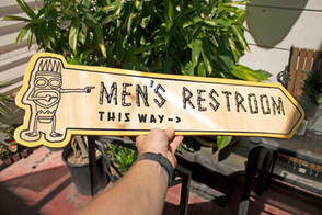 Custom Cut Wooden Wayfinding Signage for The Bamboo Club in Long Beach