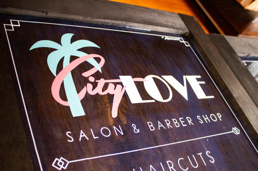 Custom-built and Hand-painted A-frame Sign for City Love Salon on Retro Row in Long Beach