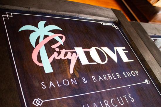 Custom-built and Hand-painted A-frame Sign for City Love Salon on Retro Row in Long Beach