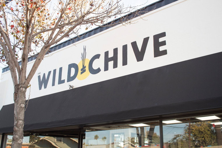 Hand-Painted Exterior Signage for The Wild Chive Vegan Kitchen in Long Beach