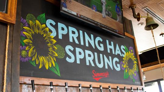 'Spring has Sprung' Hand-drawn Chalk Design for Simmzy's in Hungtington Beach, CA.