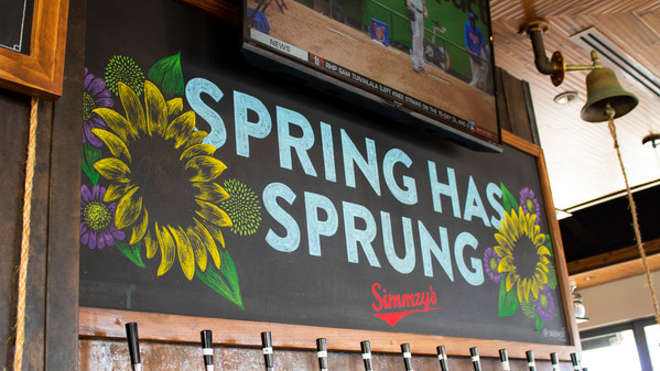 'Spring has Sprung' Hand-drawn Chalk Design for Simmzy's in Hungtington Beach, CA.