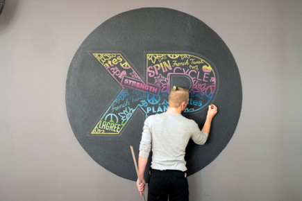 Colorful Collage Mural for KP Pilates Studio in Downtown Long Beach