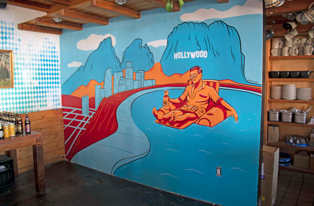 Once Upon a Time in Hollywood themed mural for Wirtshaus in Hollywood