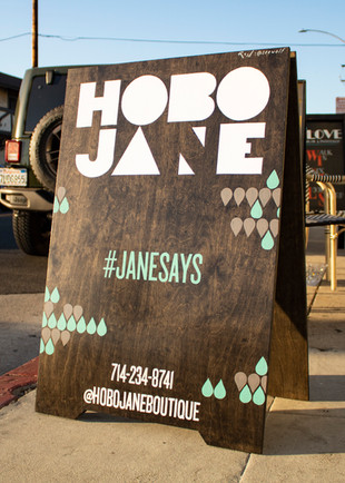 IMGCustom-built and painted A-frame sign for Hobo Jane Boutique