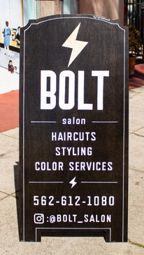 Custom-built and Hand-painted A-frame Sign for Bolt Salon in the Arts District of Long Beach.