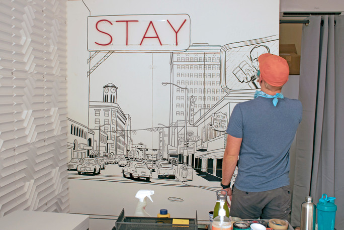 Illustrative Mural of 1930's Downtown Long Beach for The Metropolitan Hotel in the Arts District