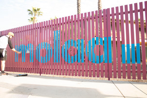 Large-scale Hand-painted Logo for the Museum of Latin American Art in Long Beach.