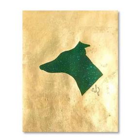 green & gold dog