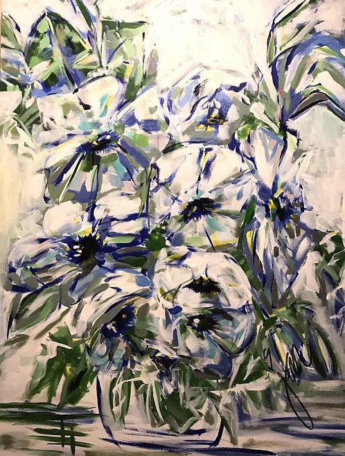 Blue Blooms in a Blue Vase