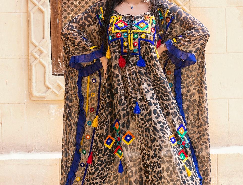The leopard print embroidery tassels  kaftan