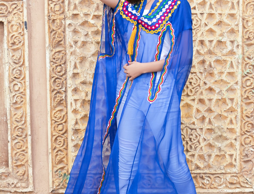 The blue embroidery mirrored cape