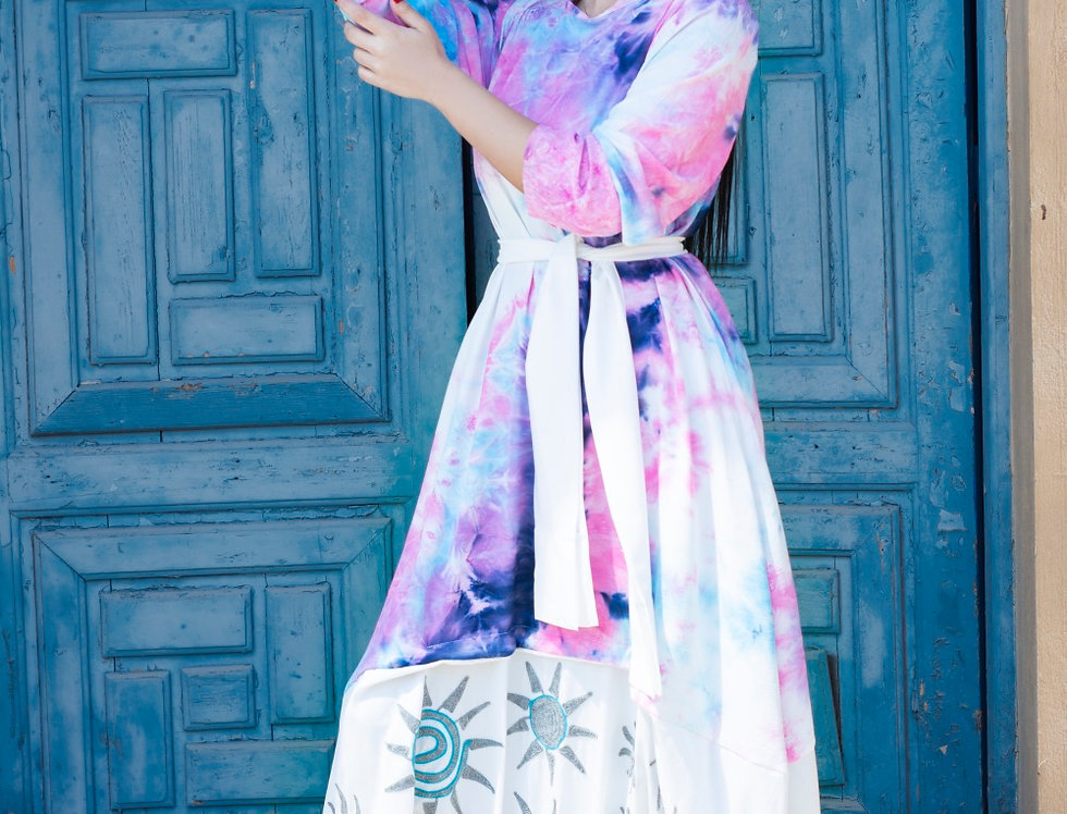 The tie dye embroidery dress