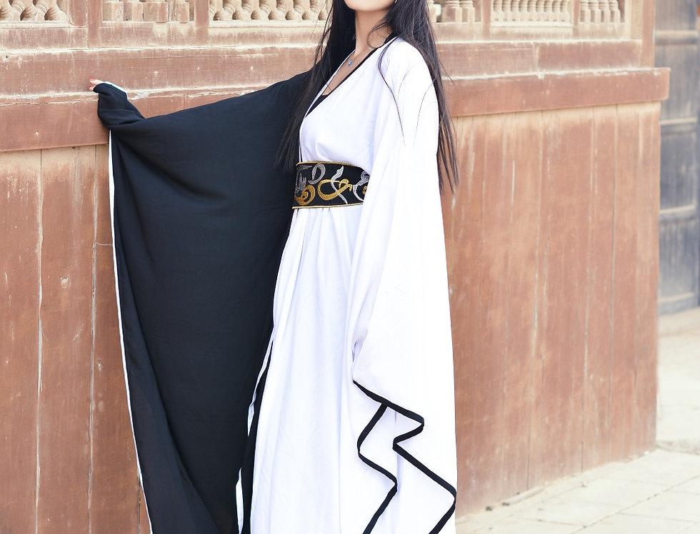Madad black n white kafftan  with arabic calligraphy