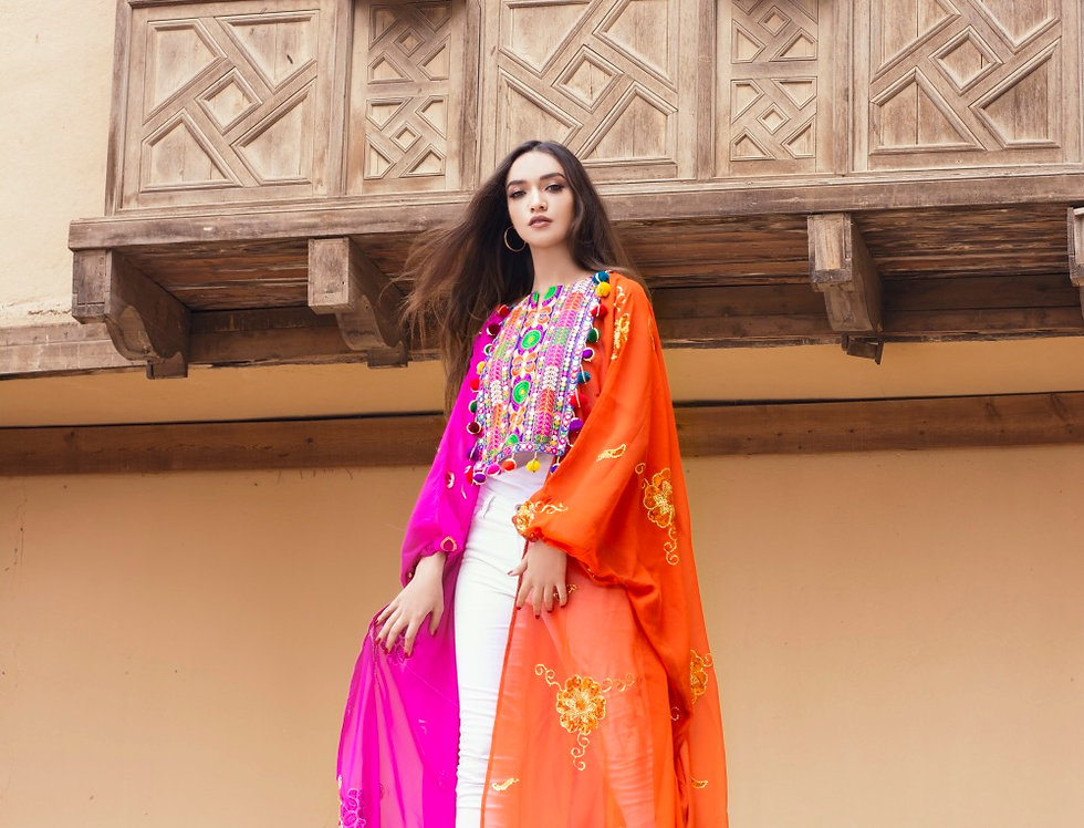 The double colored  pink n orange embroidery kafftan