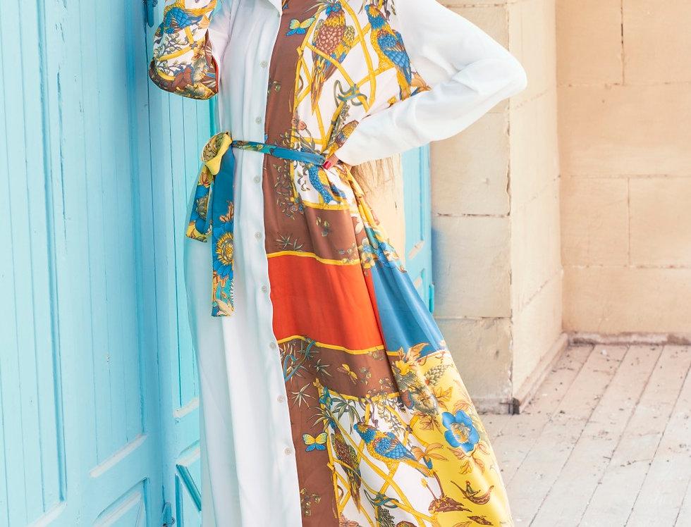 The portrait scarf shirt dress