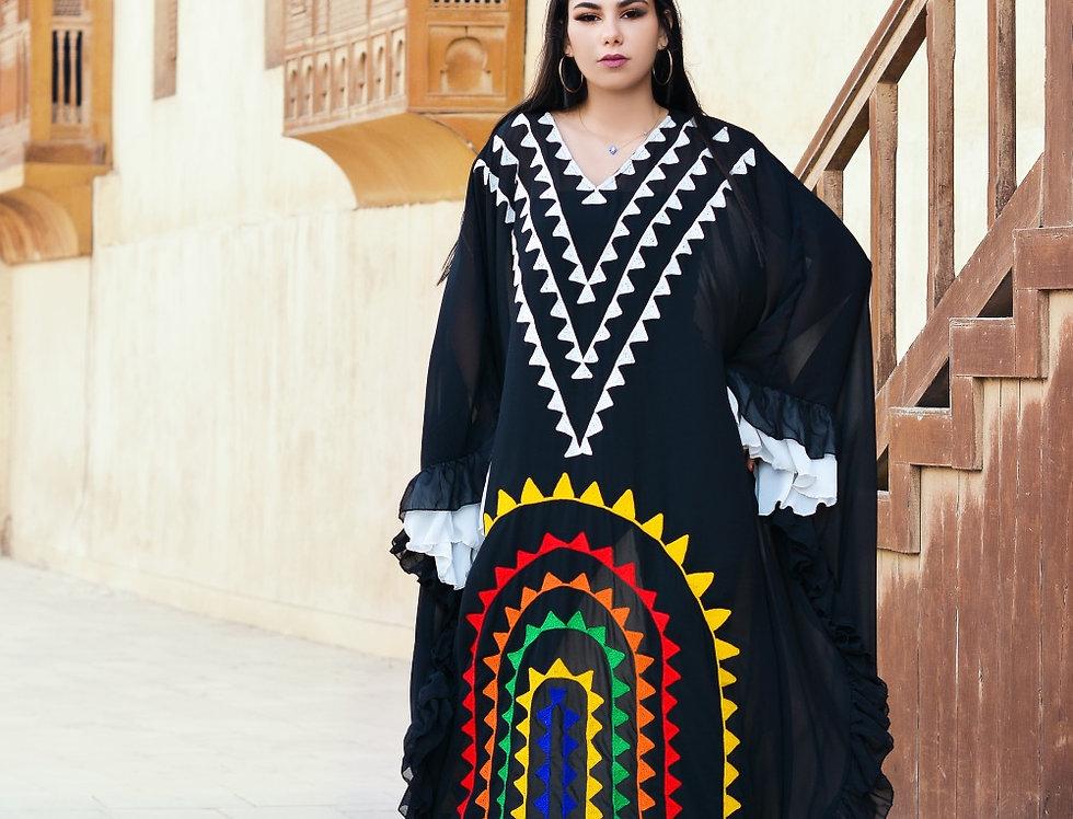 The geometric embroidery black  kaftan