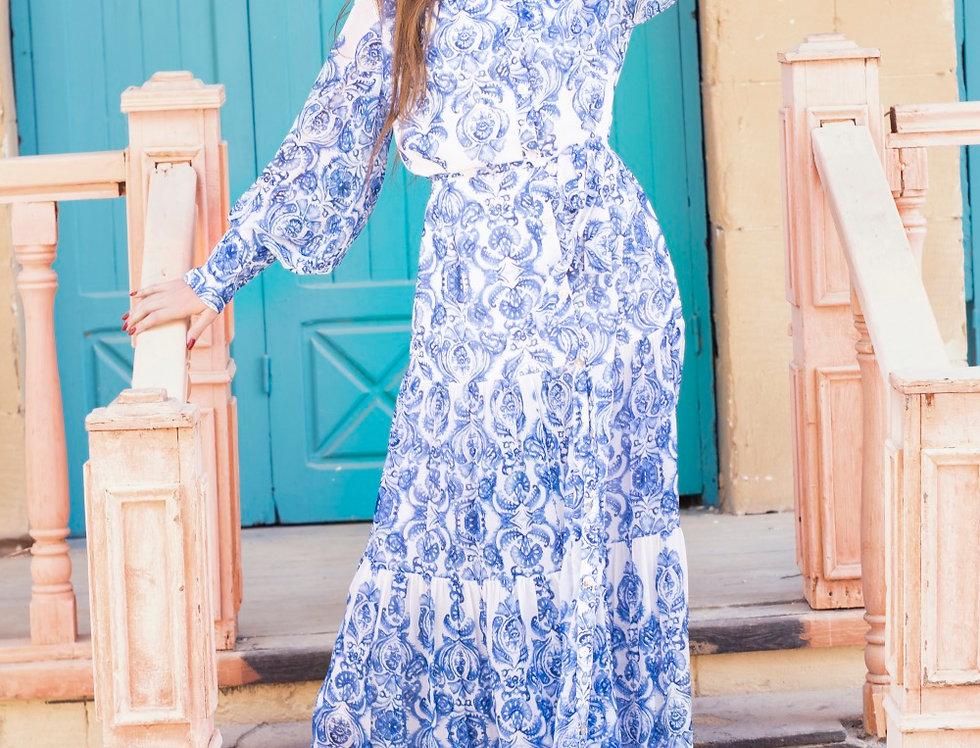 The  toile printed chiffon maxi dress