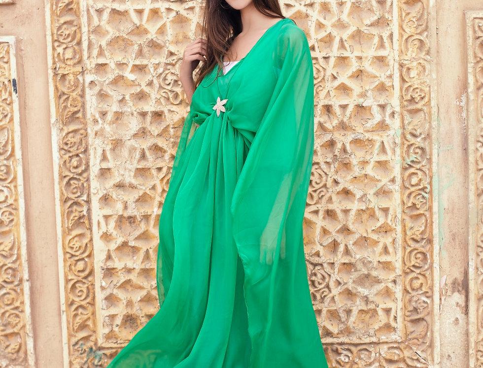 Jasmin  Green  Cape  Dress