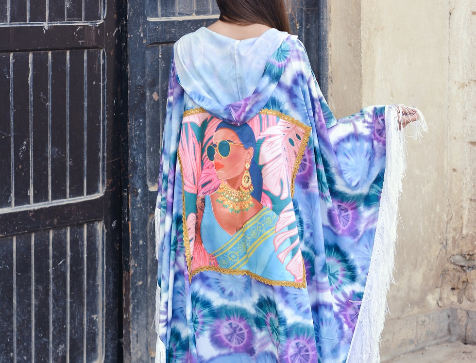 The dip dye Indian  lady fringed poncho