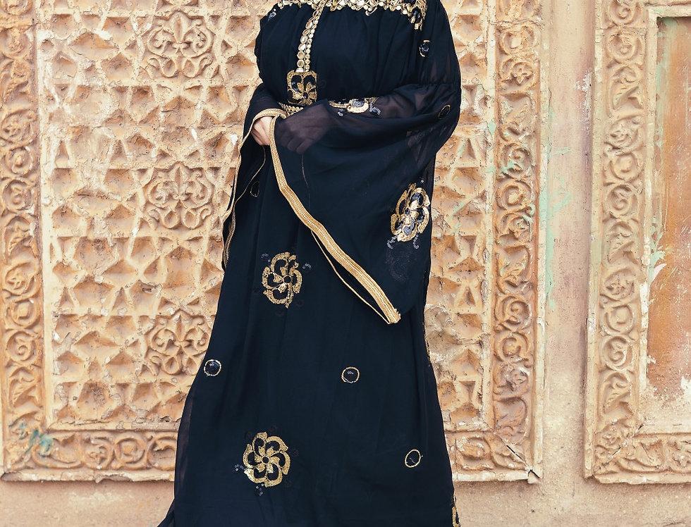 The off shoulder  embroidery  kaftan dress