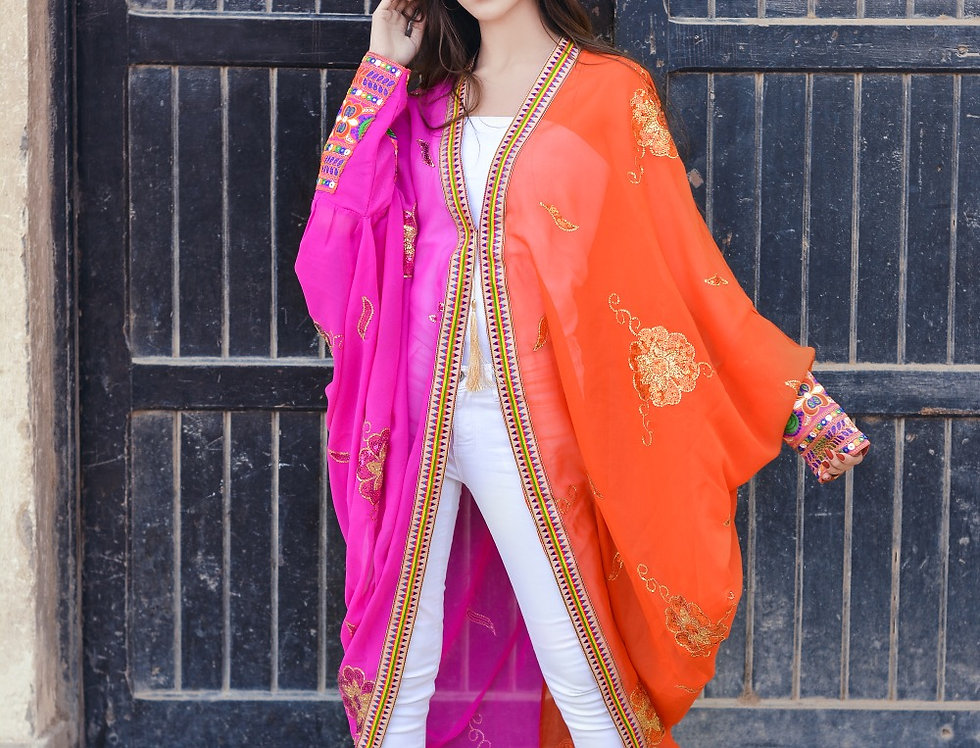 Double color embroidery cardigan