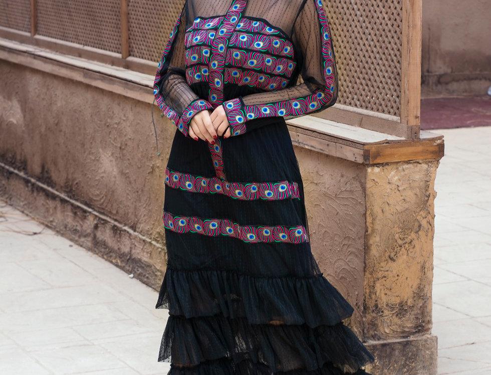The black embroidery raffle dress
