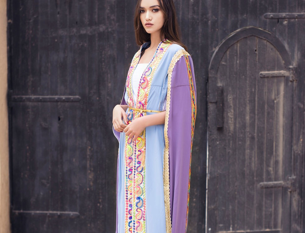The double colored embroidery cape