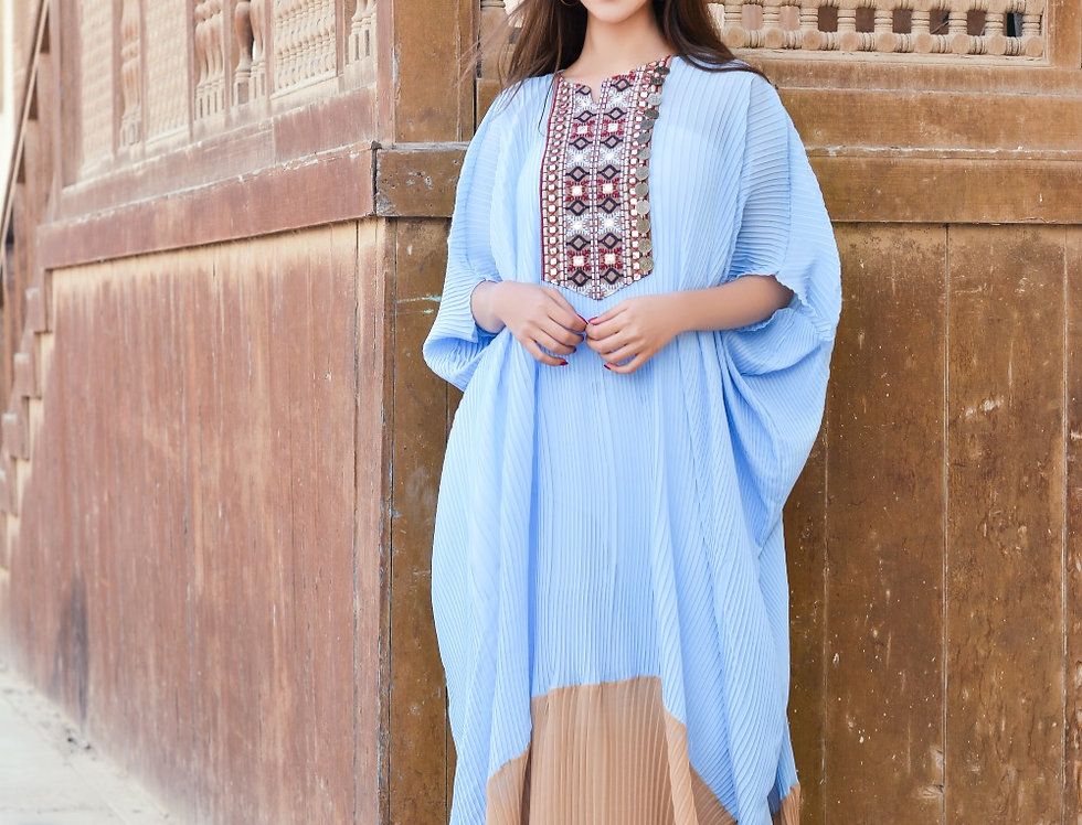 The blended embroidery double color kaftan