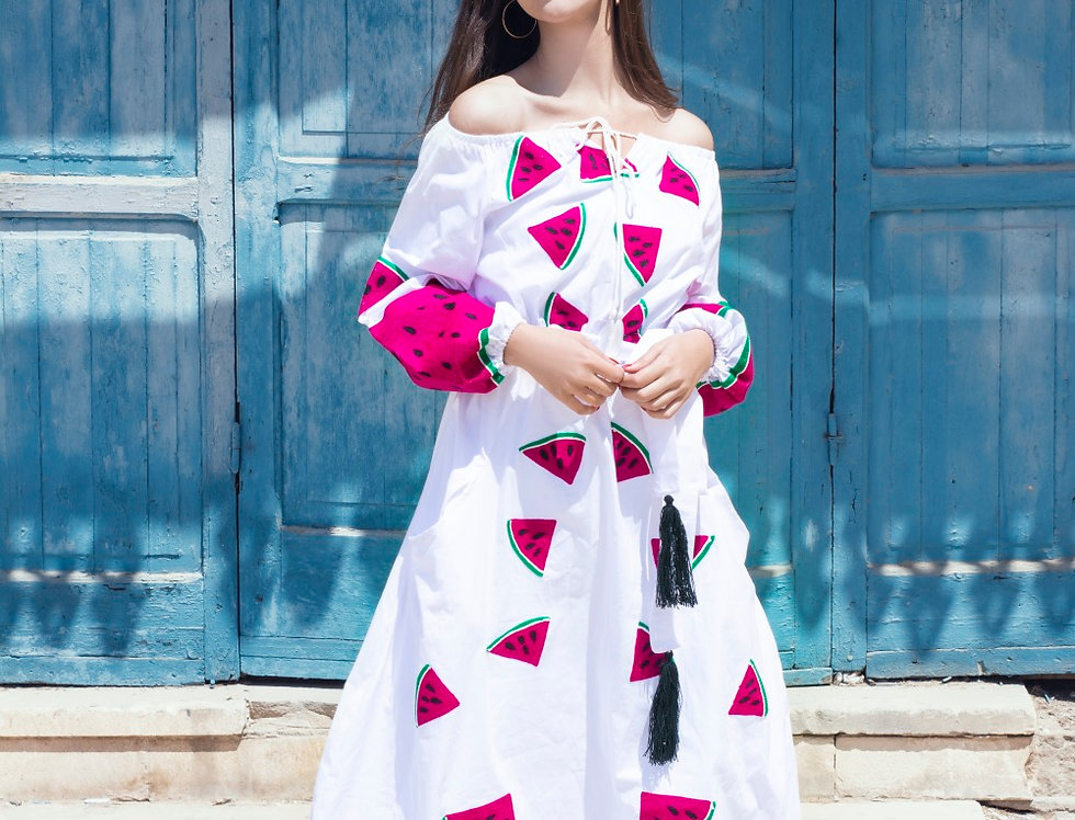 The water melon  embroidery dress