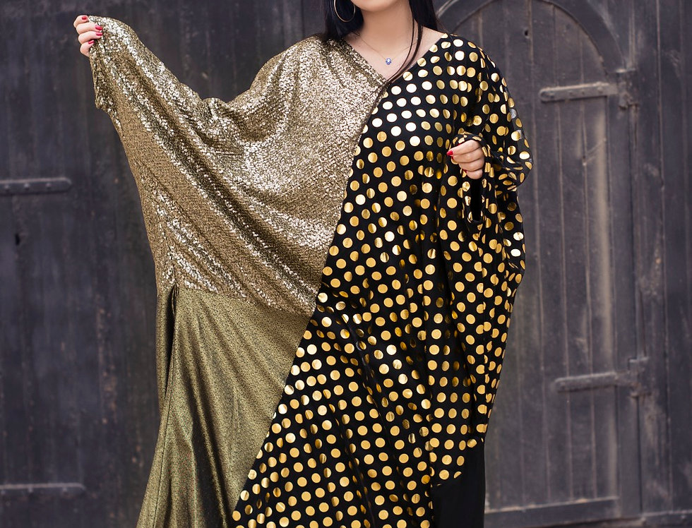 The gold sequined multi color kafftan