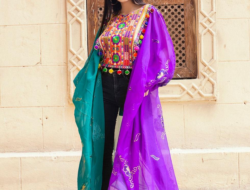 Purple n green hi lo embroidery kafftan