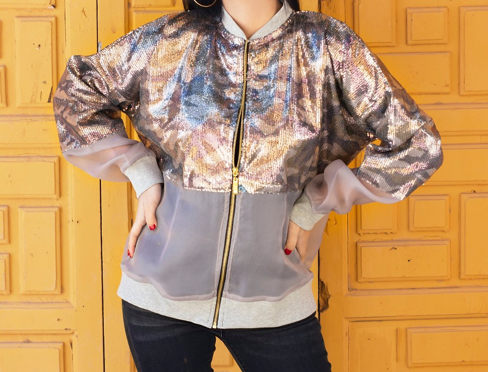 The camouflage  sequined short jacket