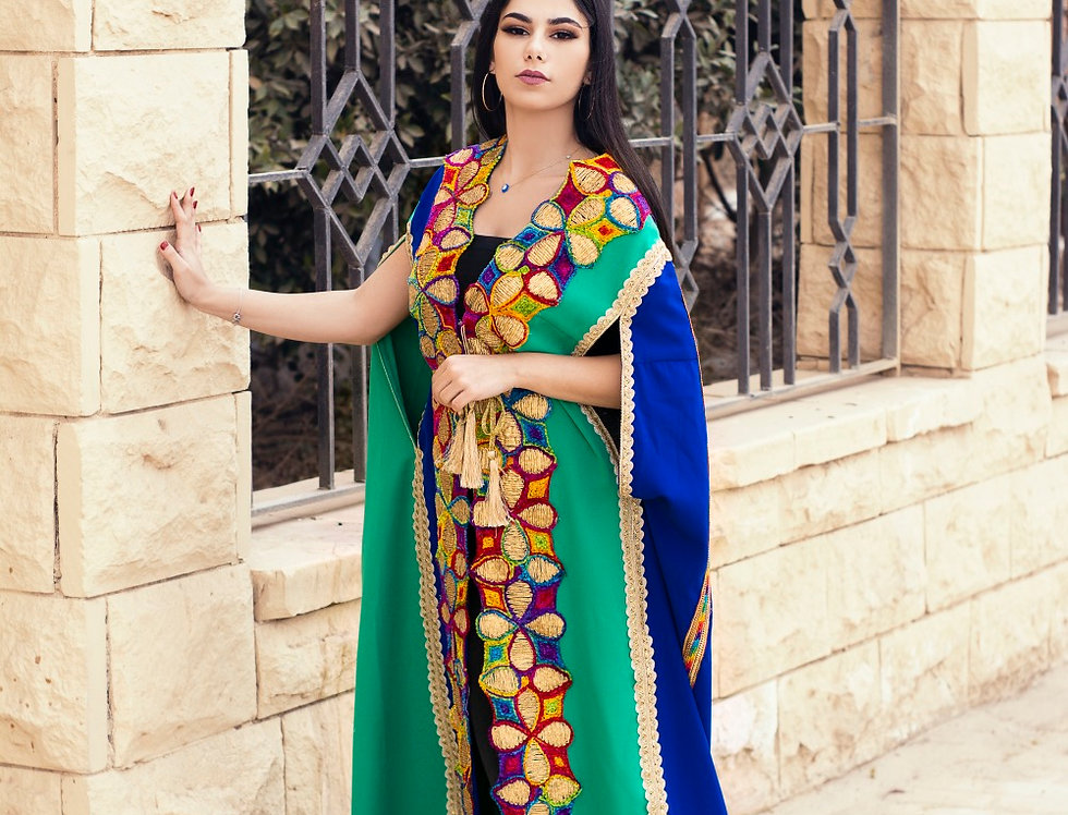 Double colored royal embroidery cape