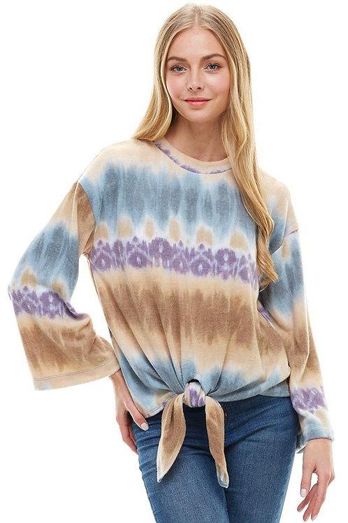 Cozy Knit Tie Dye Effect Tie Front Top
