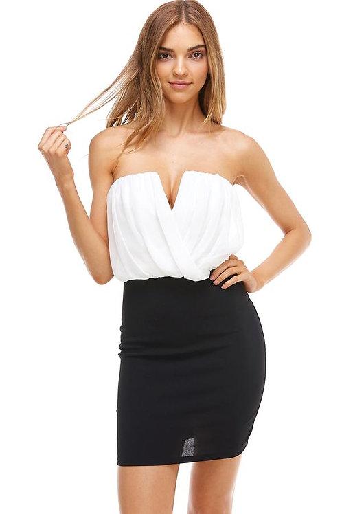 Ivory Top/Black Bottom Dress