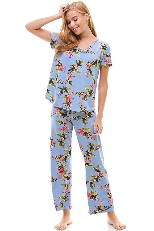 Loungewear set for women's floral print short sleeve and pants