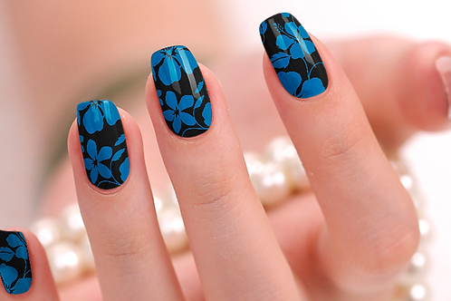 Blue Floral Nail Wraps