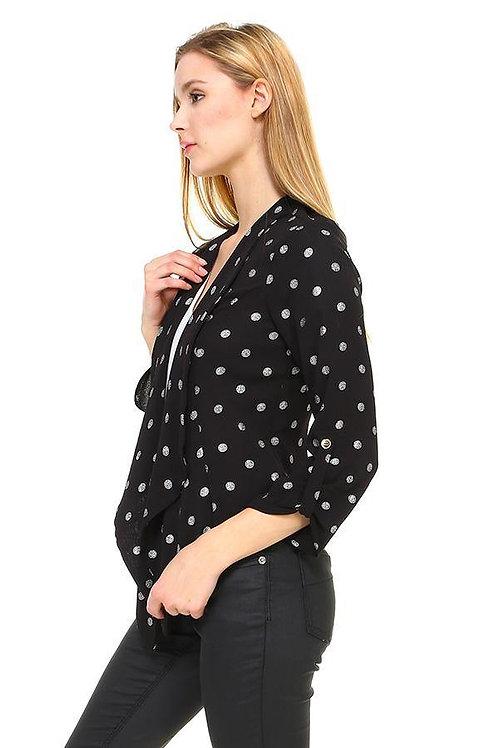 Foil Dot Print Soft Blazer Jacket
