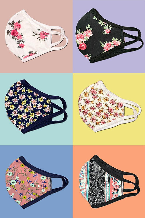 Floral flower fashion washable reusable breathable fabric ear loop shield face m
