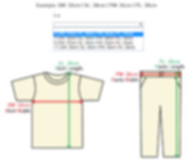 Size measurement guide for clothing set