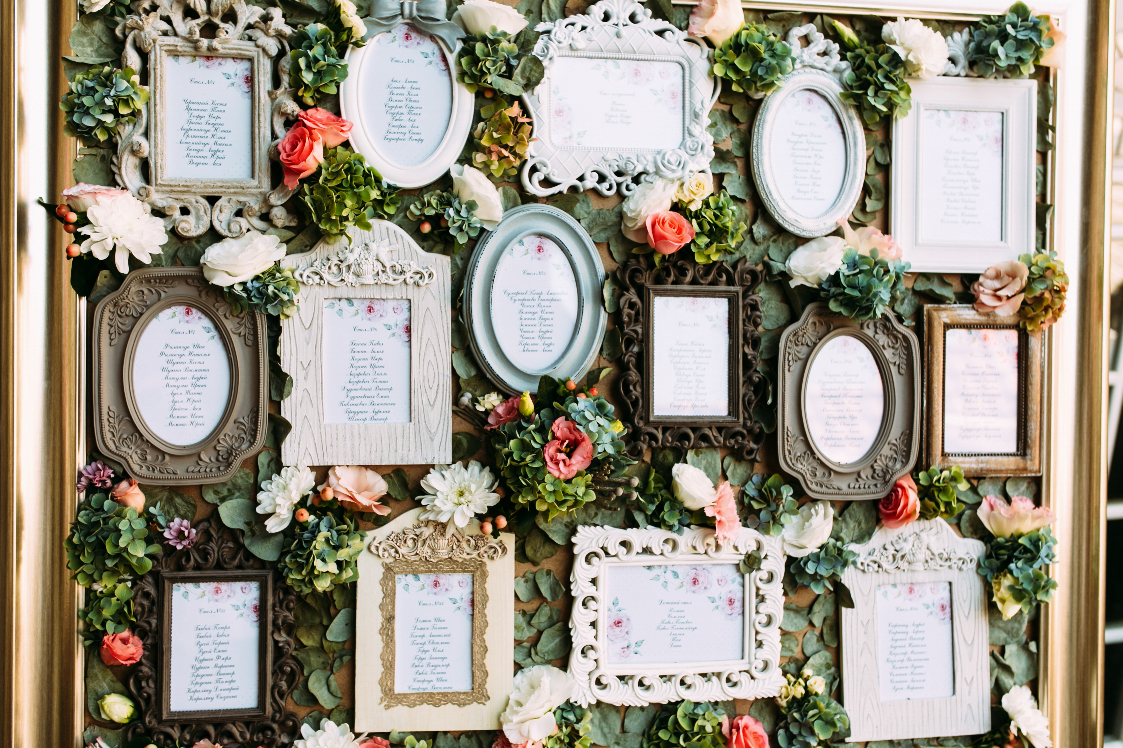 Vintage frames with the list of the wedd