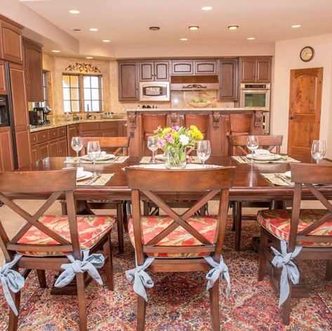 We invite you to entertain and break bread with your friends and family at our dining table that seats 8.