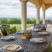 Our covered patio provides various seating arrangements from a chaise lounge, to an outdoor table for 6 or a cozy love seat. Relax, and take in the views!