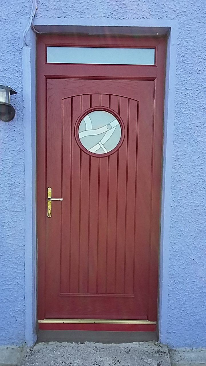 PVC VIKING PALLADIO DOOR RED OUTSIDE WHITE INSIDE FITTED IN WHITEGATE