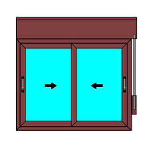 Cortizo C70 corredera, color madera, persiana