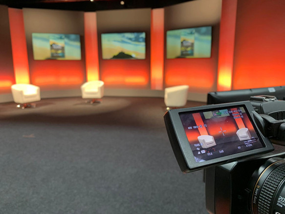 Studio TX standard set ready for book launch with remote contributors