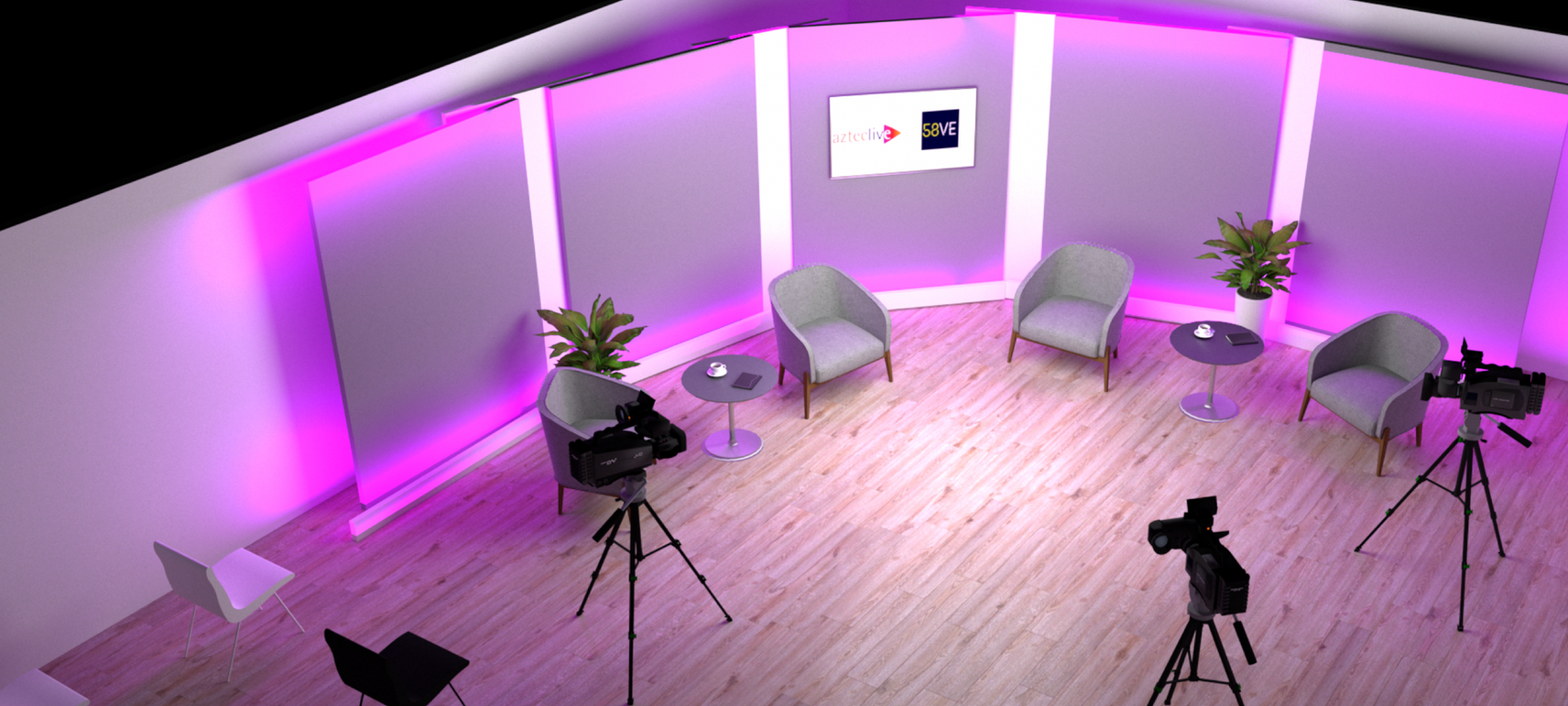 Studio VE standard set ready for panel session with remote contributors