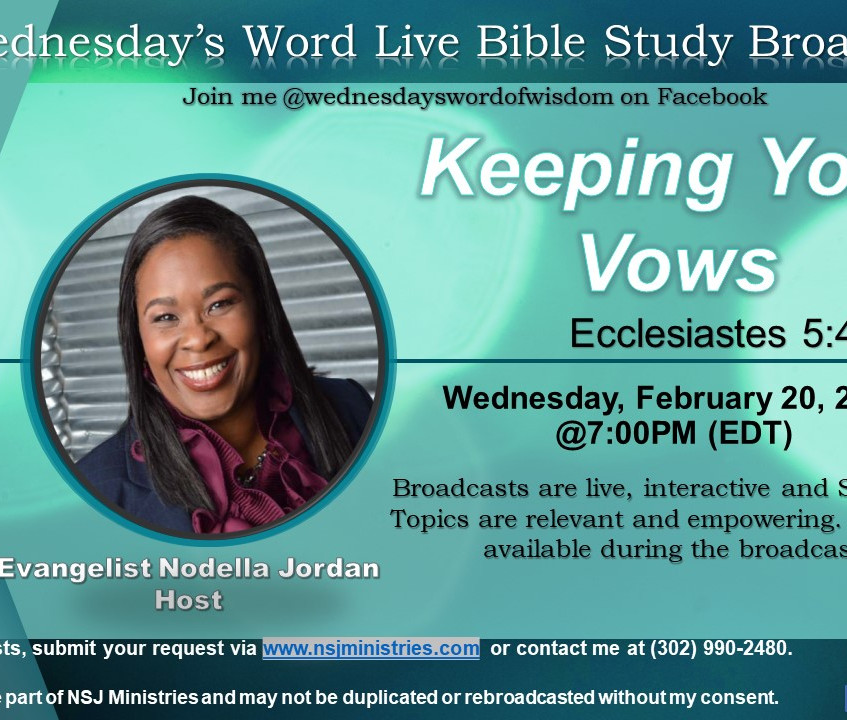 Wednesday's Word is a weekly live broadcast teaching from scripture/bible/Word of God